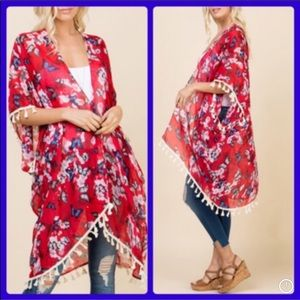 Butterfly motif sparkly red kimono with tassles